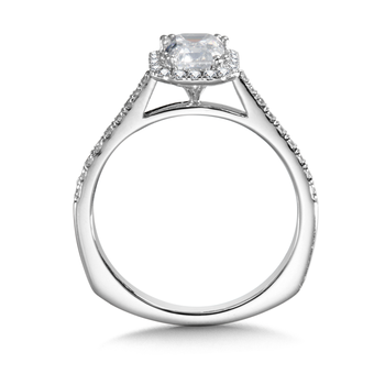 Diamond Halo Engagement Ring Mounting in 14K White Gold (0.24 ct. tw.)