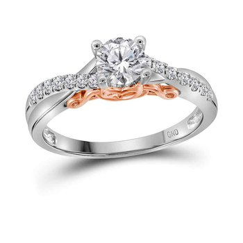14kt White Gold Womens Round Diamond Solitaire Bridal Wedding Engagement Ring 5/8 Cttw
