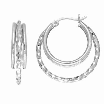 Silver Three Row Diamond Cut and Polished Hoop Earring