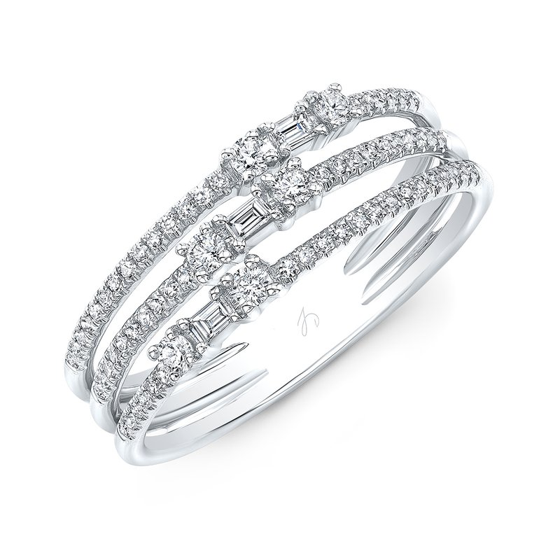 White Gold Three Row Baguette Ring