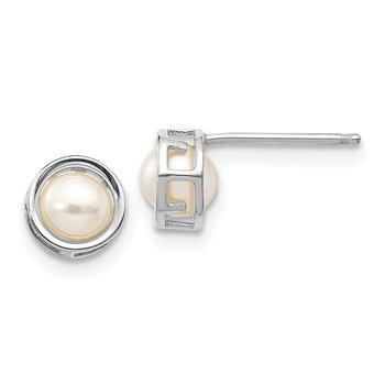 14k White Gold 5mm Bezel FW Cultured Pearl Stud Earrings