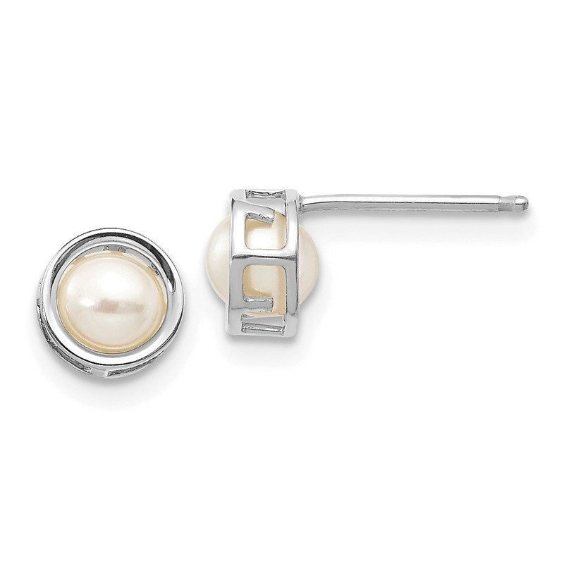 Quality Gold 14k White Gold 5mm Bezel FW Cultured Pearl Stud Earrings