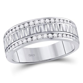14kt White Gold Mens Round Diamond Double Row Zigzag Wedding Band Ring 1/2 Cttw