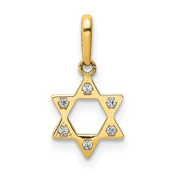 14K CZ Star of David Pendant
