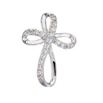 14K White Gold Medium Swirl Diamond Cross Pendant