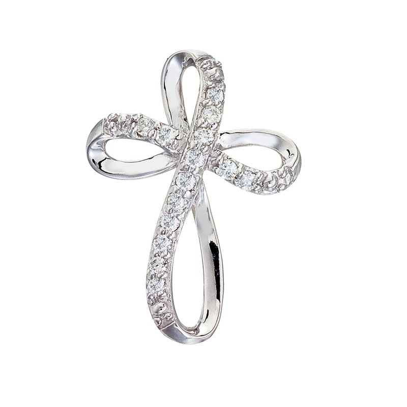Color Merchants 14K White Gold Medium Swirl Diamond Cross Pendant
