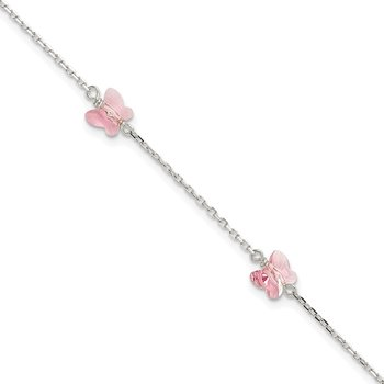Sterling Silver 6mm Lt Rose Crystal Butterfly by the Yard Bracelet