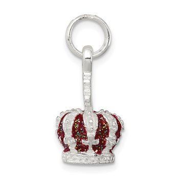 Sterling Silver Red Enameled Crown Charm