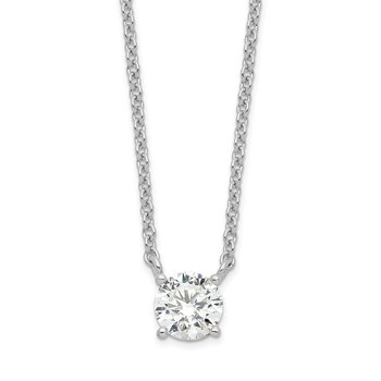 Sterling Silver Rhodium-plated CZ w/1in ext. Necklace
