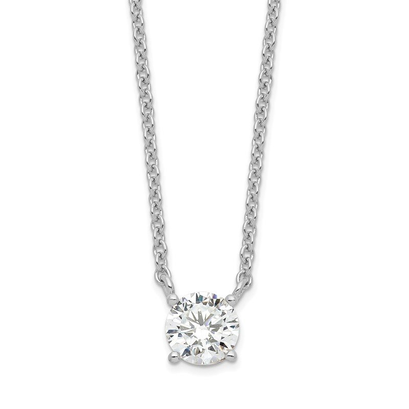 Quality Gold Sterling Silver Rhodium-plated CZ w/1in ext. Necklace
