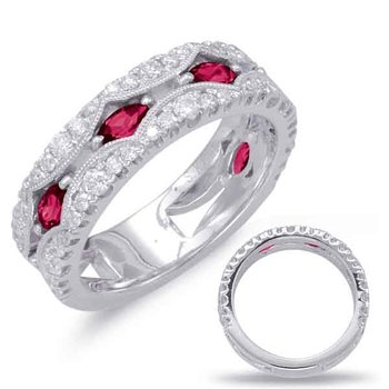White Gold Ruby & Diamond Ring