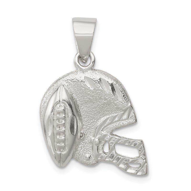 Quality Gold Sterling Silver Polished Football & Helmet Pendant