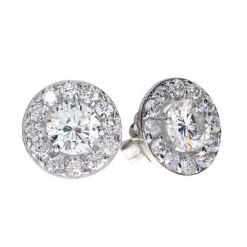 14K White Gold 1.02 ct Diamond Halo Stud Earrings