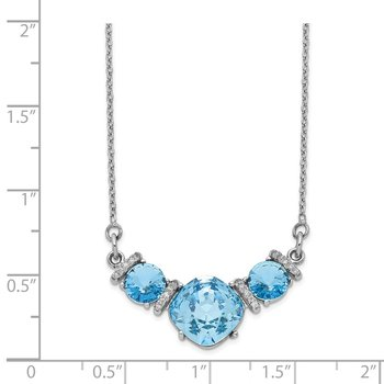 Sterling Silver Rhodium-plated Clear & Blue 3-stone Crystal w/2in ext Choke