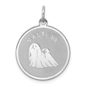 Sterling Silver Rhodium-plated Maltese Disc Charm