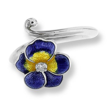 Purple Pansy Ring.Sterling Silver-White Sapphire