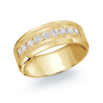 9 Diamond Milgrain Wedding Band