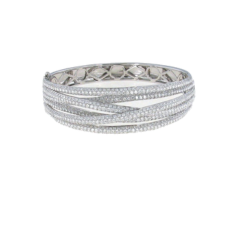 18Kt Gold Diamond Crossover Bangle