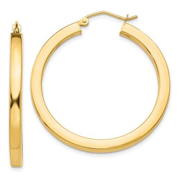 14k 3mm Polished Square Hoop Earrings