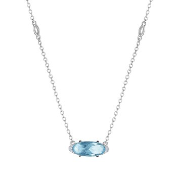 Solitaire Oval Gem Necklace with Sky Blue Topaz