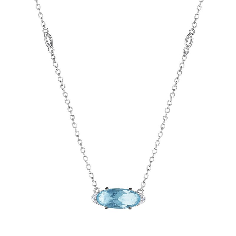 Tacori Fashion Solitaire Oval Gem Necklace with Sky Blue Topaz