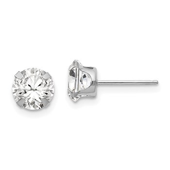 14k White Gold Madi K 6.5mm CZ Post Earrings
