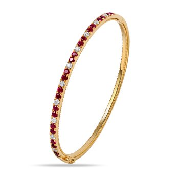 14K Diamond and Pink Sapphire Bangle  22 P.S 1.41CT 10 DIA 0.50