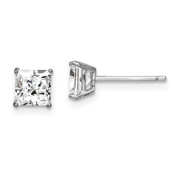 Sterling Silver Rhodium-plated CZ 5mm Square Post Earrings
