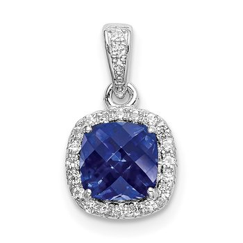 Sterling Silver Rhod-plated Created Blue/White Sapphire Pendant