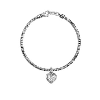Classic Chain Heart Charm Bracelet in Silver with Diamonds