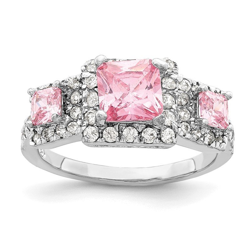 Quality Gold Sterling Silver Pink Square CZ Ring