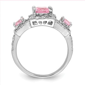 Sterling Silver Pink Square CZ Ring