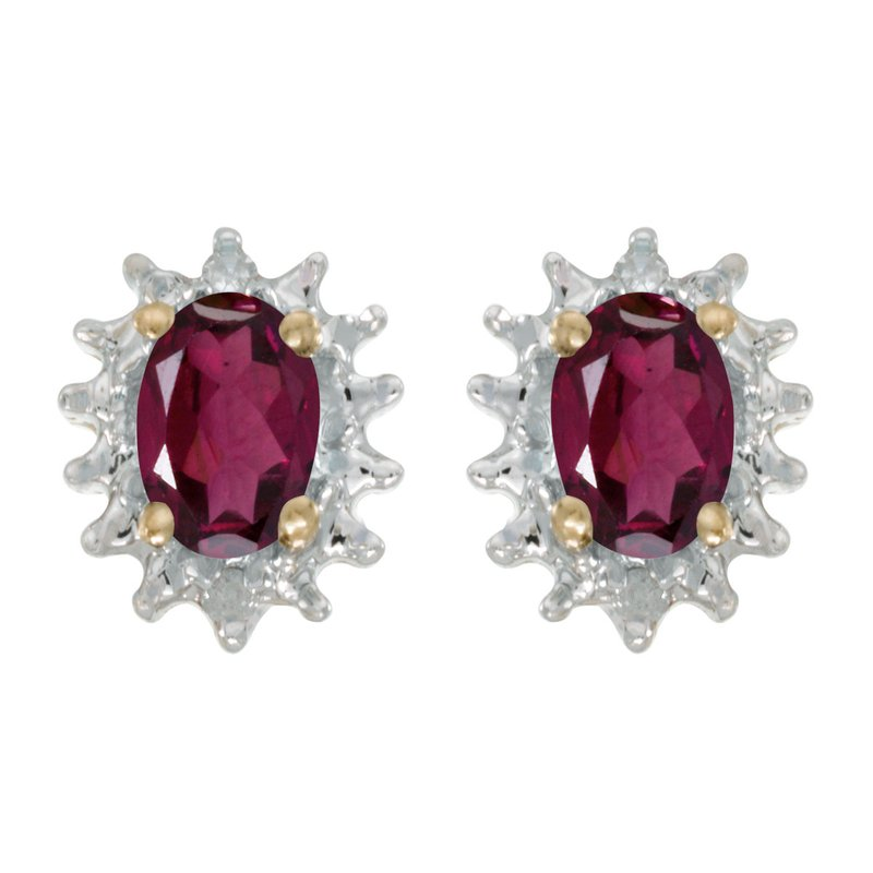 Color Merchants 14k Yellow Gold Oval Rhodolite Garnet And Diamond Earrings