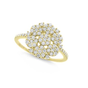 Diamond Floral Style Ring in 14K Yellow Gold with 69 Diamonds Weighing .52ct tw