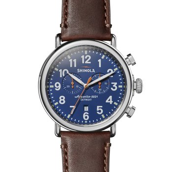 The Runwell Chrono 47mm Royal Blue Dial Leather Strap Watch