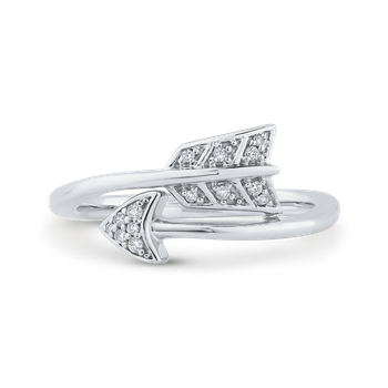 10K White Gold Round Diamond Bypass Arrow Fashion Ring (.06 cttw)