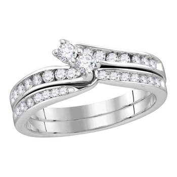 14kt White Gold Womens Round Diamond 2-Stone Hearts Together Bridal Wedding Engagement Ring Band Set 1/2 Cttw