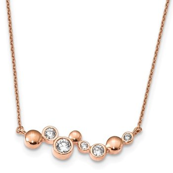 Sterling Silver Rose Gold-plated CZ w/1in ext Fancy Bar Necklace