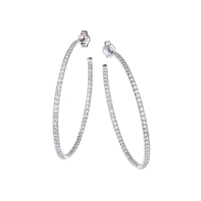 Roberto Coin Xlarge Inside Outside Diamond Hoop Earrings