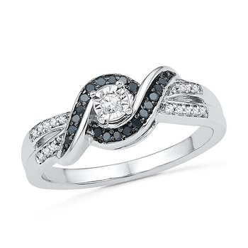 Diamond Promise Ring 0.20 CTTW Sterling Silver Black & White
