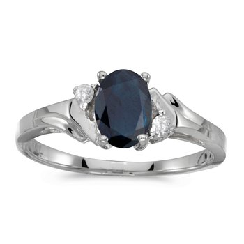 14k White Gold Oval Sapphire And Diamond Ring