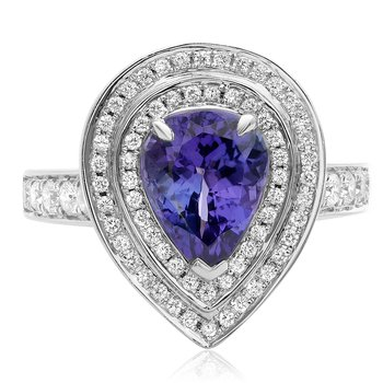 Pear-shaped Tanzanite Double Halo Ring