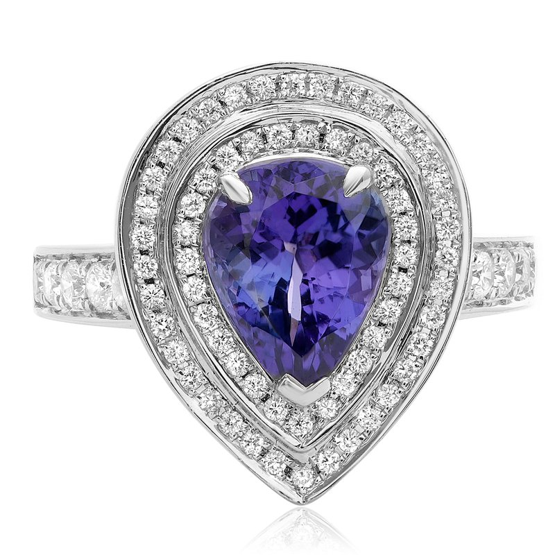 Roman & Jules Pear-shaped Tanzanite Double Halo Ring