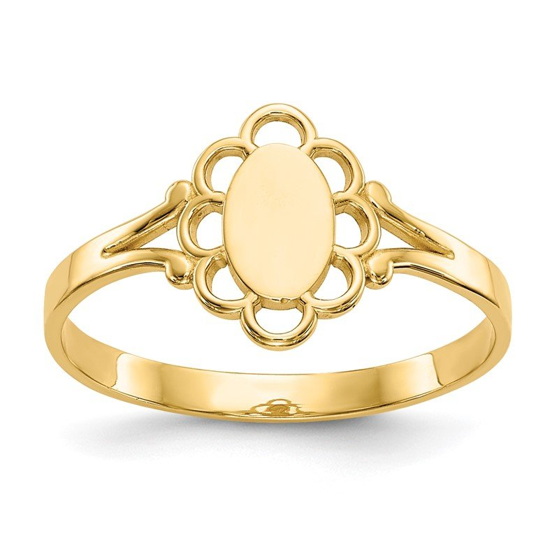 Quality Gold 14K Filigree Oval Polished Center Baby Signet Ring