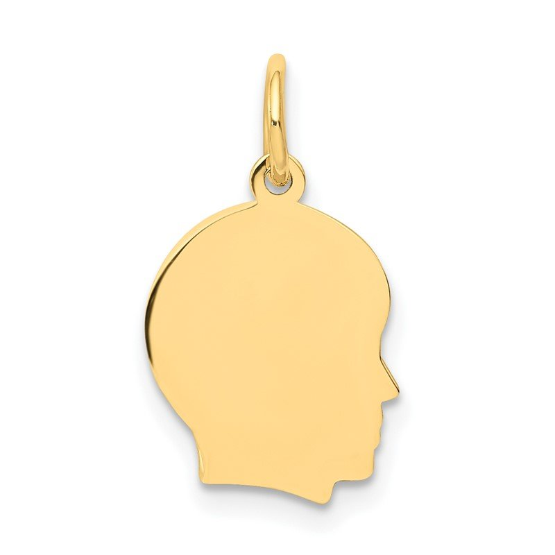 Quality Gold 14k Plain Small .009 Gauge Facing Right Engravable Boy Head Charm