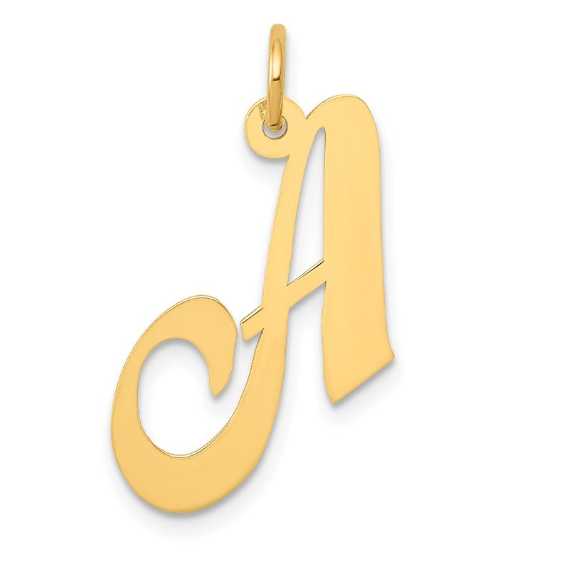 Quality Gold 14K Medium Fancy Script Letter A Initial Charm