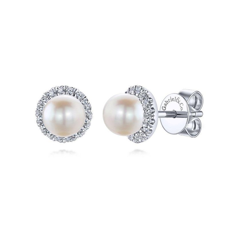 Gabriel Fashion 14K White Gold Round Diamond Halo Pearl Stud Earrings