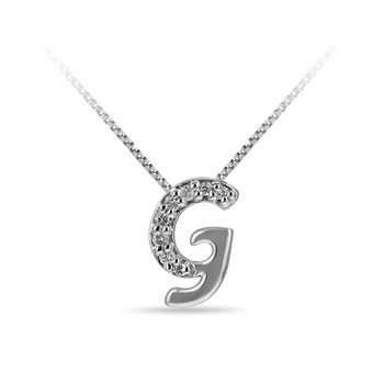 "925 SS and diamond cursive alphabet G ""Chain Sliding "" pendant in prong setting"