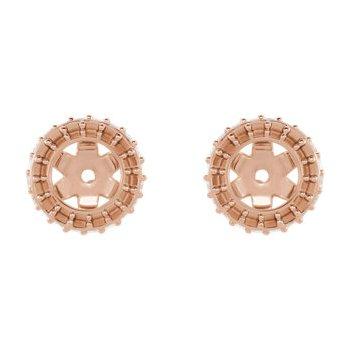18K Rose 4 mm Round Earring Jacket Mounting