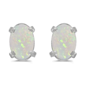 14k White Gold Oval Opal Earrings